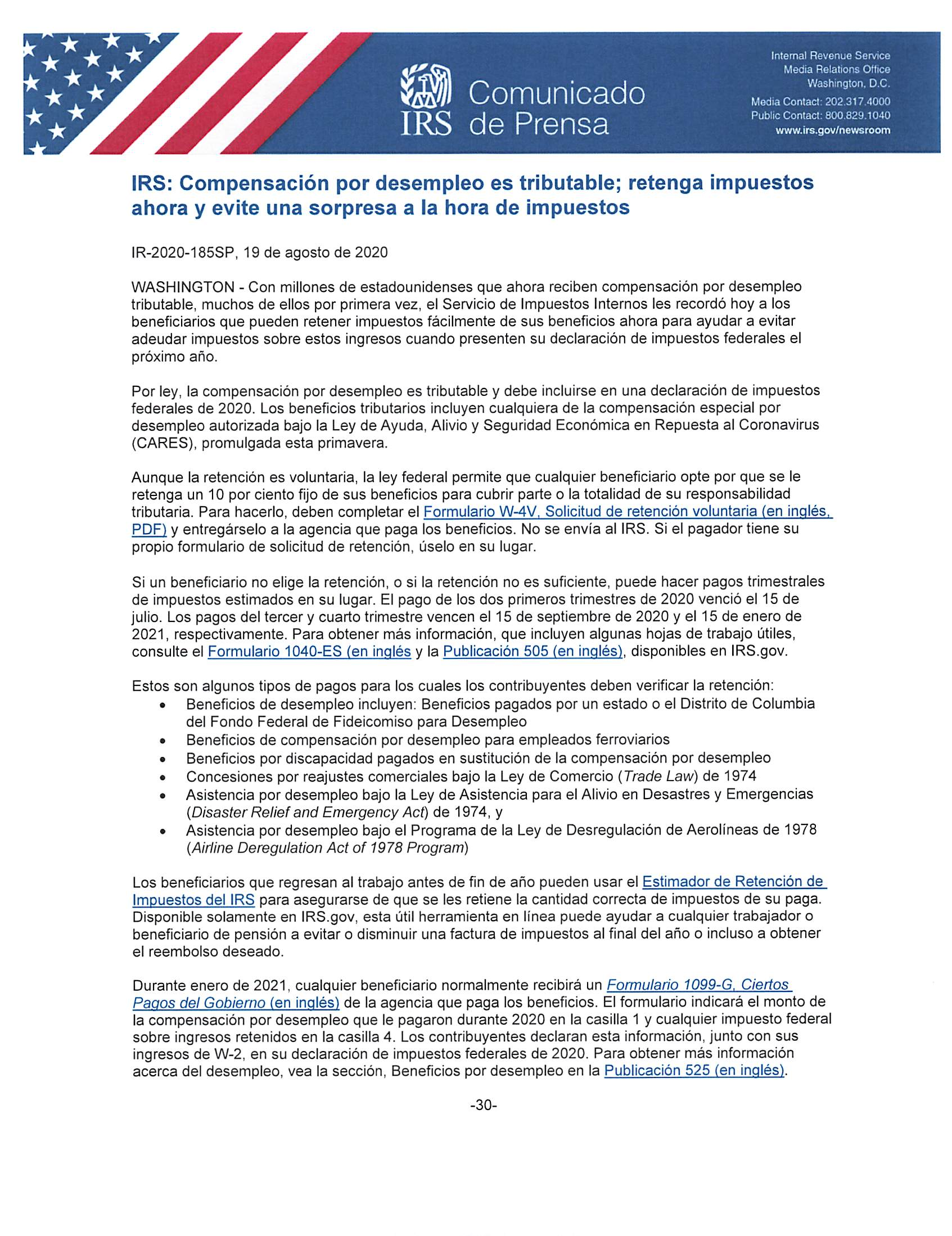 Unemployment Benefits IRS (Spanish)